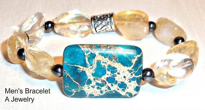 """Men's Bracelet  Turquoise , Hematite And  Citrine  """" Full  of Abundance and"""