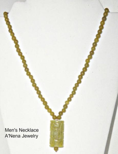 "Men's Necklace Korean Jade and Quartzite ""I'm Prosperous"""