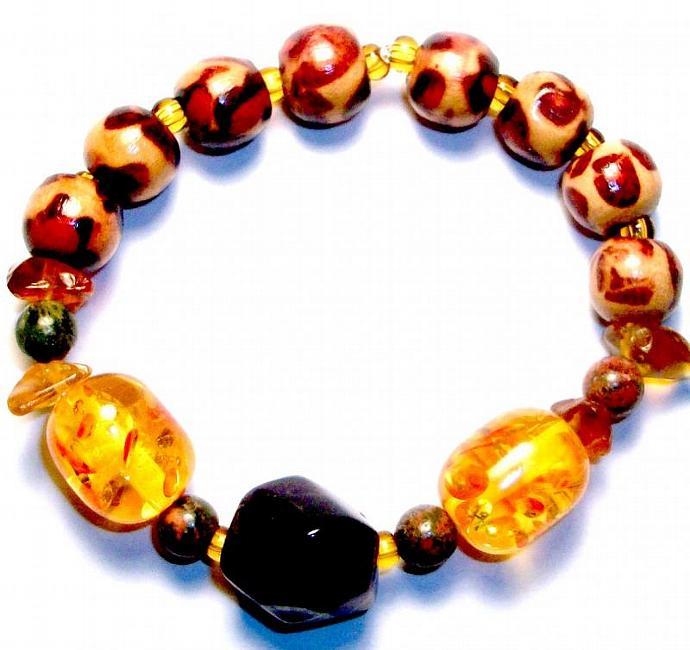 "Men's Bracelet Genuine Amethyst, Amber Colored Artisan Glass, Jasper and Wood ""I"