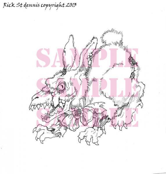 Creepster Bunny digital Stamp