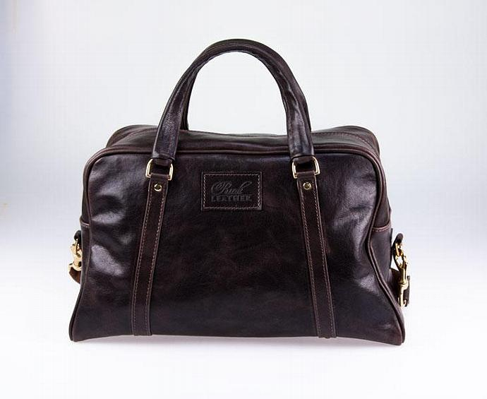 Leather Overnight Bag - Dark Brown Buffalo Hide Carry-On Bag - Made in Australia