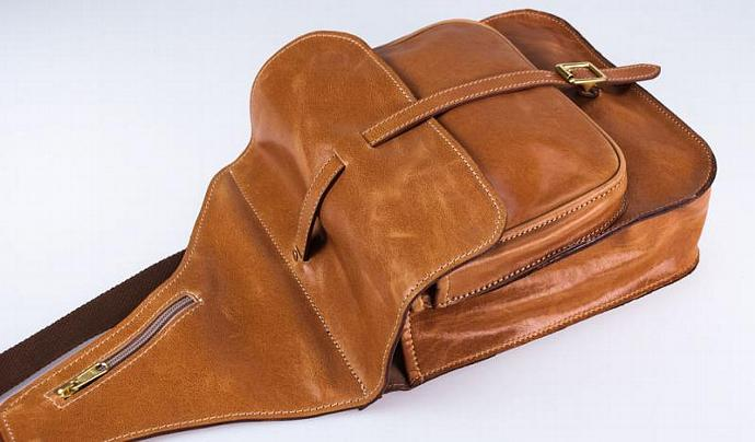 Leather Shoulder Bag - Tan Buffalo Hide Saddle Bag - Made in Australia