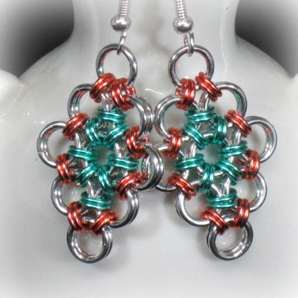 Peachy Diamond Chainmaille Earrings