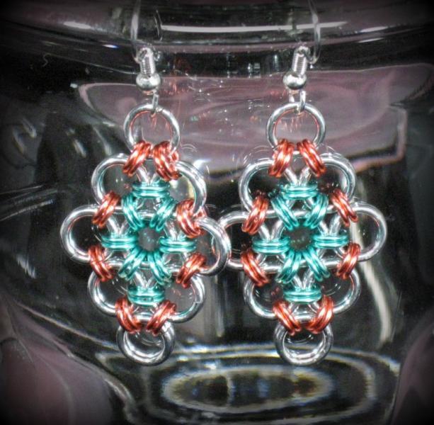Peachy Diamond Chainmaille Earrings