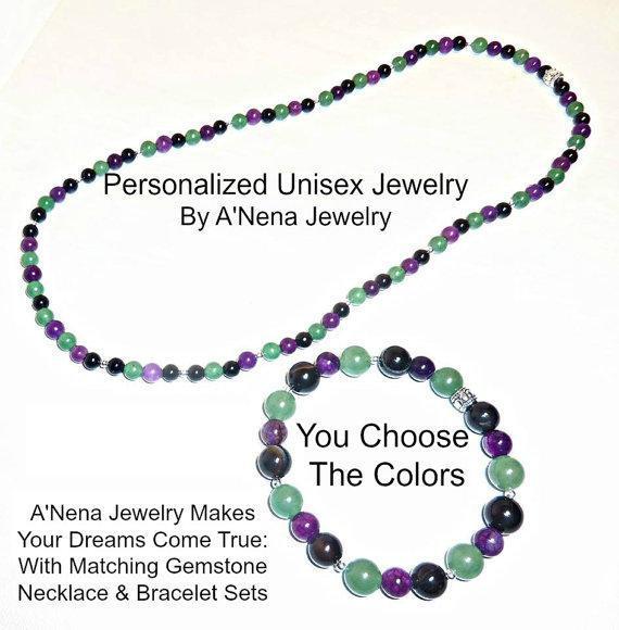 Unisex :Personalized Matching Gemstone Necklace And Bracelet