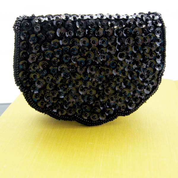 Vintage Black Sequined and Beaded Coin Purse