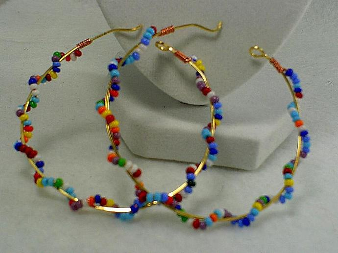 Gold and Beaded Hoops-Item # 0159
