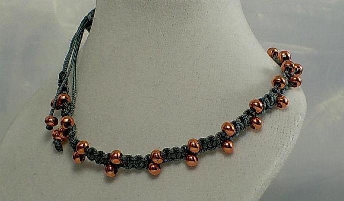 Macrame and Copper Bracelet/Anklet-Item # 0157