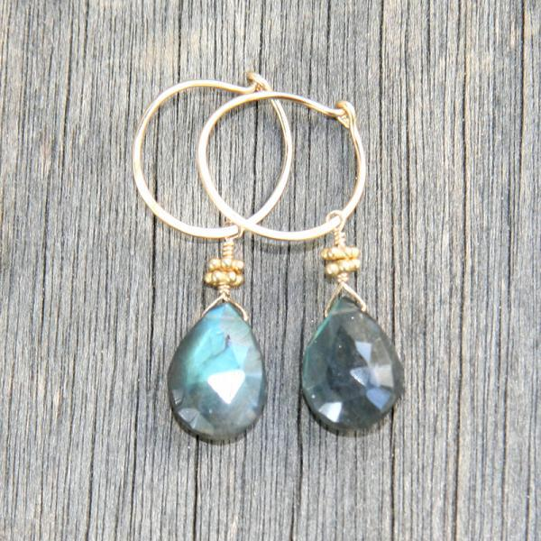 Gold Hoop with Labradorite Dangle Earrings