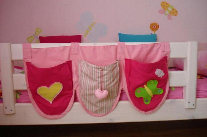 Pink Bed Pockets with patterns