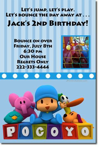 Pocoyo Birthday Invitations ANY COLOR SCHEME (download jpg immediately)