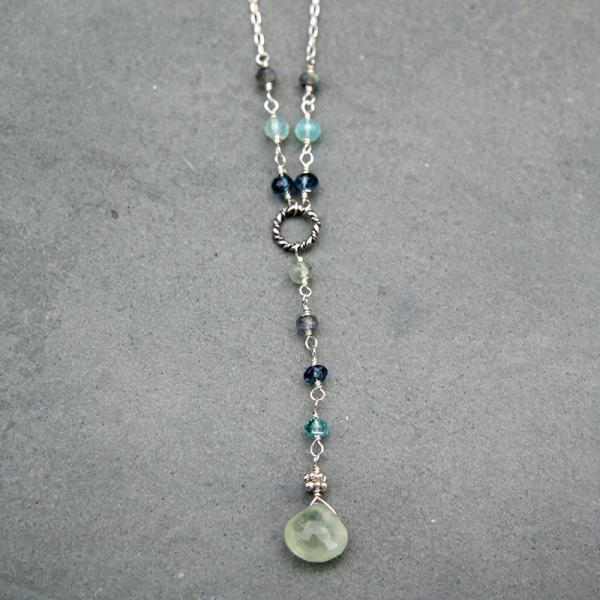 Cool Blues Prehnite Extra-Long Y-Necklace
