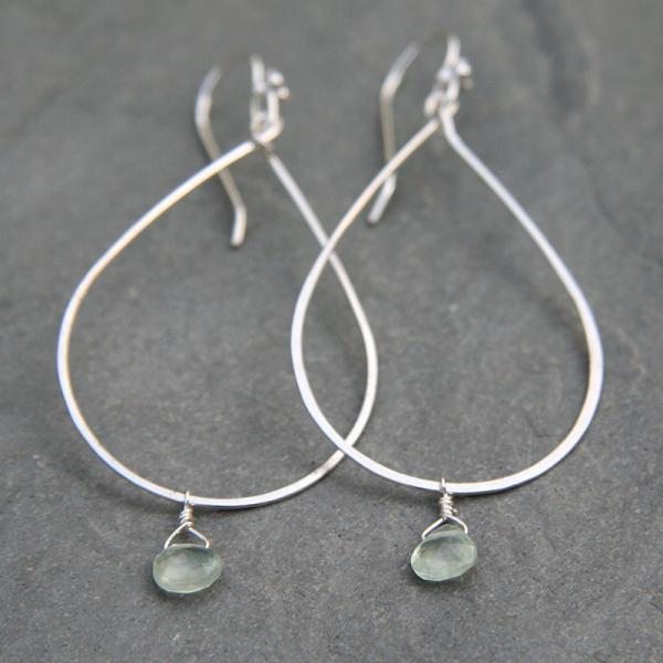 Silver Hoop and Prehnite Drop Earrings
