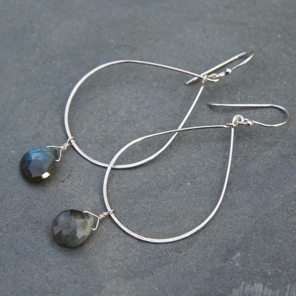 Silver Teardrop Hoop and Labradorite Earrings