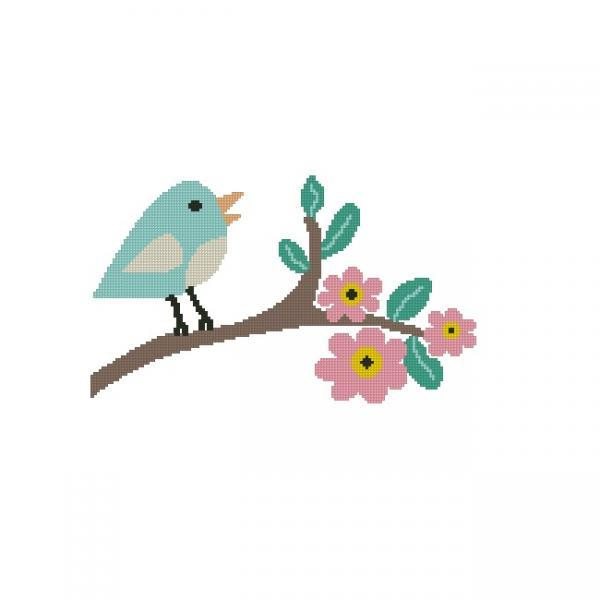 ALL STITCHES - BIRD WITH FLOWERS CROSS STITCH PATTERN .PDF -991