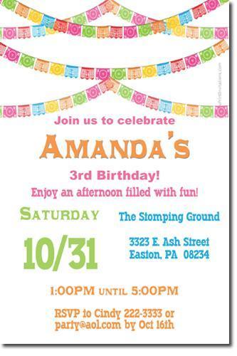Papel Picado Fiesta Bunting Birthday Invitations (download jpg NOW)