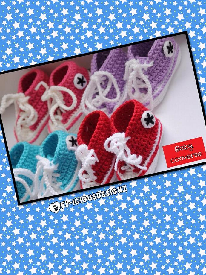 Baby Converse Style Booties - Blue