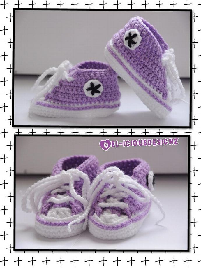 Baby Converse Style Booties - Purple