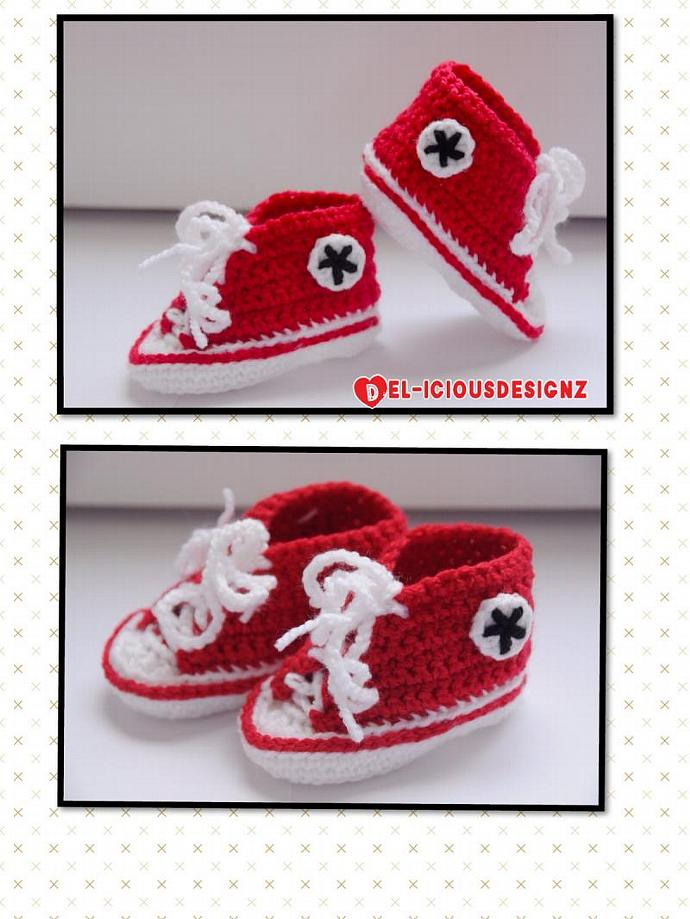 Baby Converse Style Booties - Red