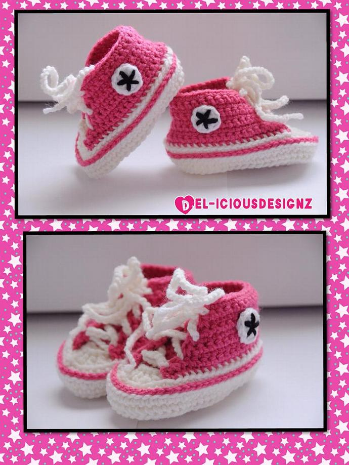 Baby Converse Style Booties - pink