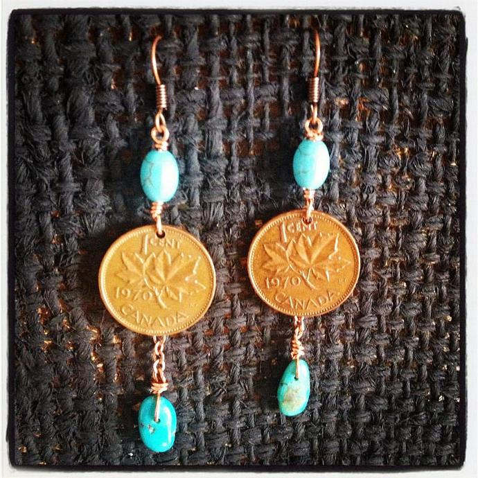 Turquoise Penny Earrings