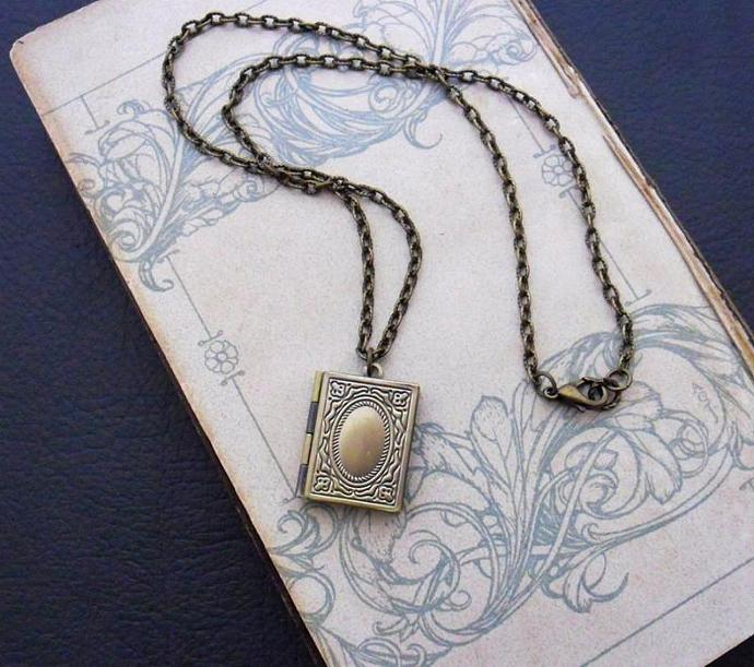 Book Locket necklace in brass: ornate, antiqued, brass-plated book locket on