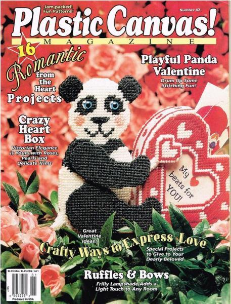 Playful Panda Valentine Plastic Canvas Pattern
