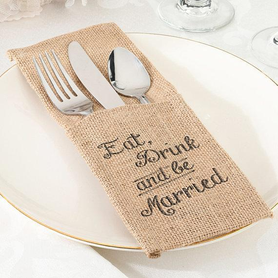 Set of 4 Be Married Burlap Silverware Holder