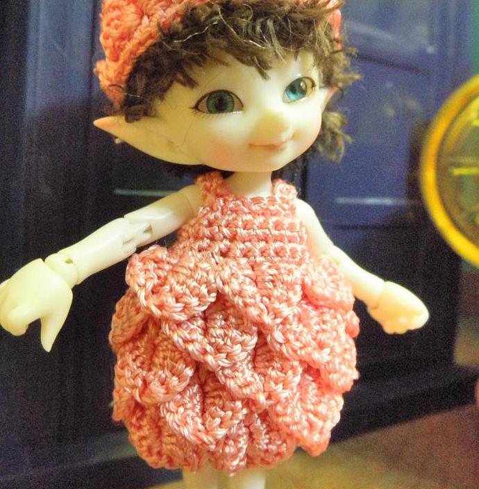 Medium Pink Petal Dress for Real Puki