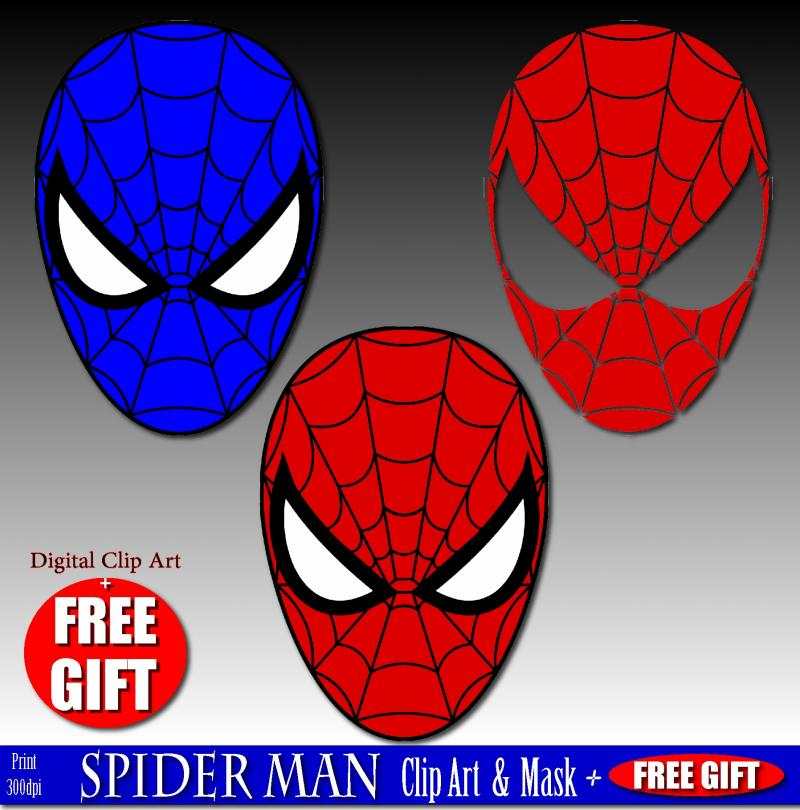 Digital clip art spiderman mask superhero party by DIGIFT