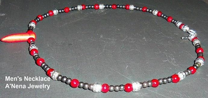 "Men's Necklace Genuine Red Jasper,hematite,  Howlite and Copper   ""Spiritual"