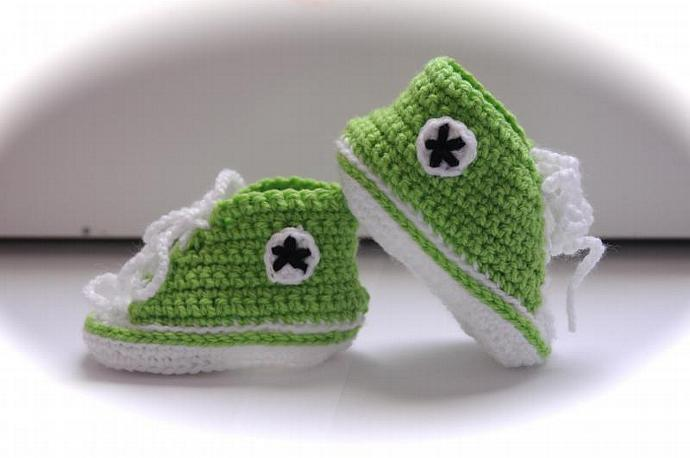 Baby Converse Style Booties - Green
