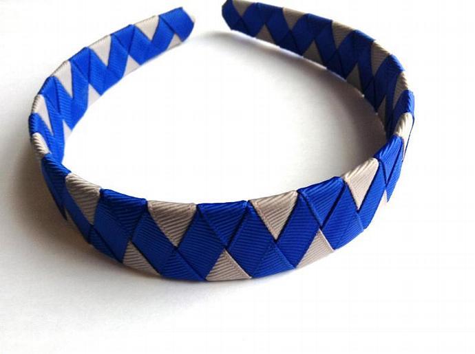 Inch Hand Woven Ribbon Headband Two Tone Zig Zag Blue and Grey