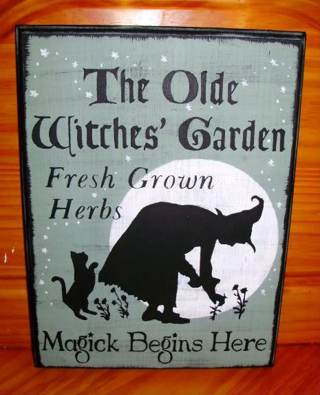 Witches Garden Primitive Witch Sign By Sleepyhollowprims