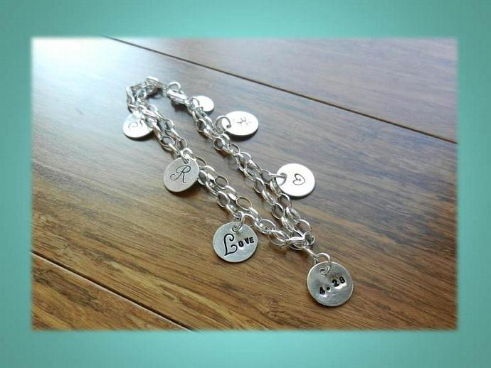 2 Charm Bracelet - 2 Hand Stamped Sterling Silver Charms & Sterling Silver