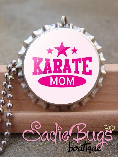 Karate Mom Mom Bottle Cap Necklace