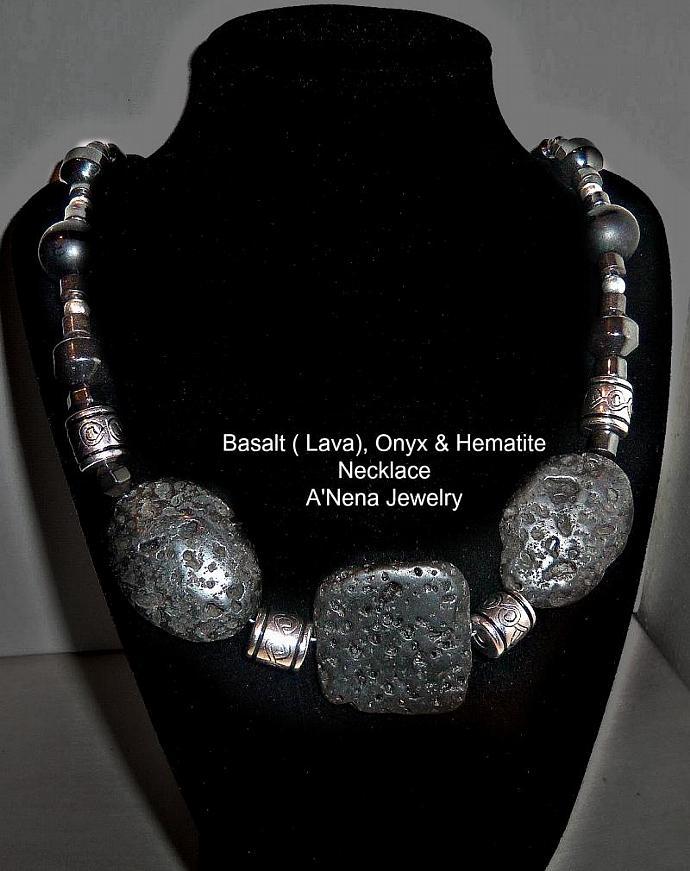"Unisex Necklace: Lava ( Basalt ), Onyx  and Hematite""POWERFUL BALANCE"""