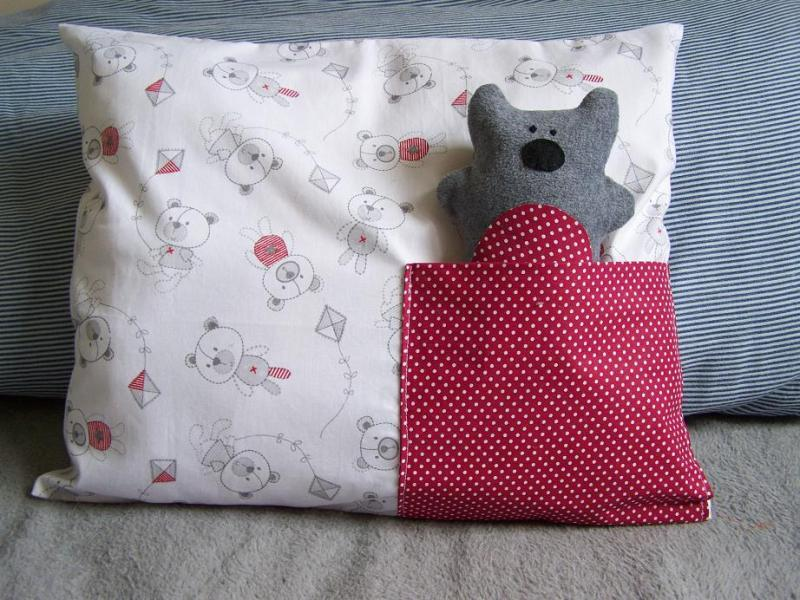 Two in one pillow cover and toy teddy bear pocket pillow case