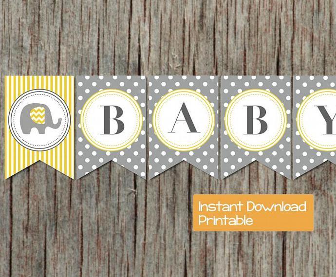 Printable Baby Shower Banner Grey By Bumpandbeyonddesigns