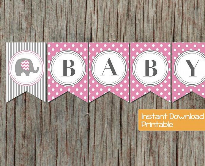 Baby Shower Banner Pink Grey Elephant by bumpandbeyonddesigns on