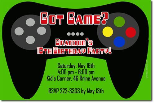 Video Game Birthday Invitations (download jpg NOW)