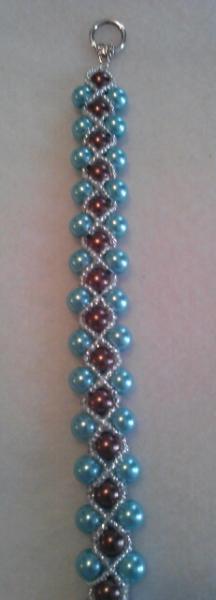 Turquoise Blue & Brown Pearl Bracelet
