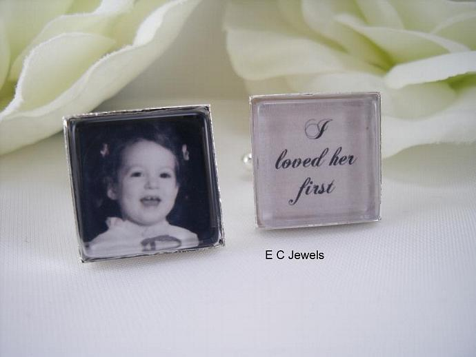 I loved her first, Custom Photo - Cufflinks