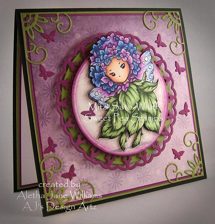 Hydrangea Sprite OOAK Fantasy Handmade Greeting Art Card