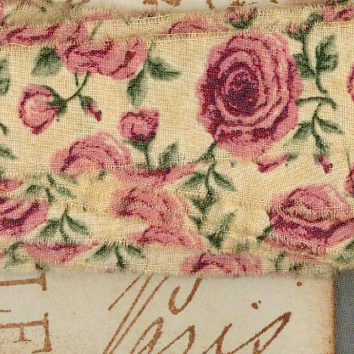 5 yards tea dyed vintage pink floral trim ribbon shabby French chic Muslin 1""