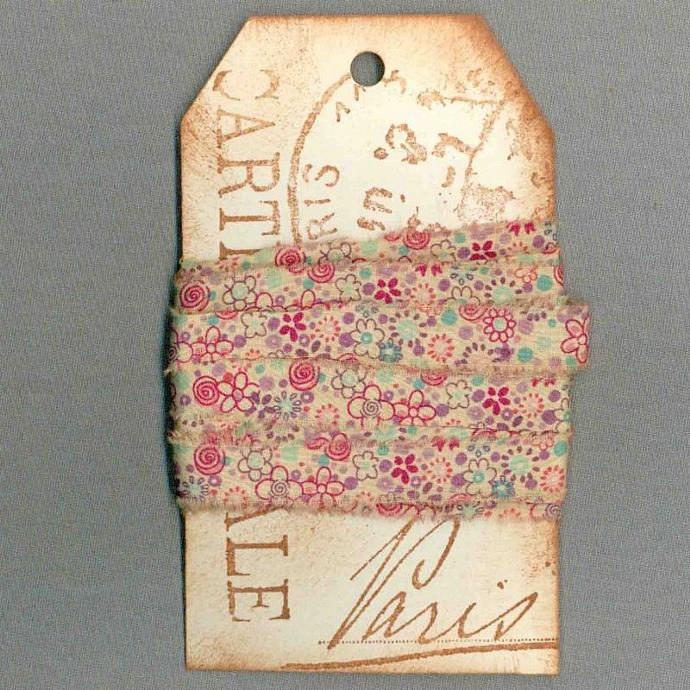 6 yards tea dyed craft gift tag FRENCH CHIC seam binding  trim vintage Muslin