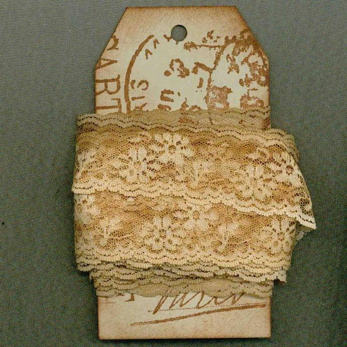 5 yards french chic cottage lace distressed Paris tag shabby vintage tea dyed
