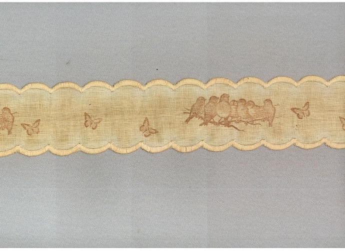 SONG BIRDS  tea dyed linen ribbon scalloped edges  handmade gift wrap 2.5 wide