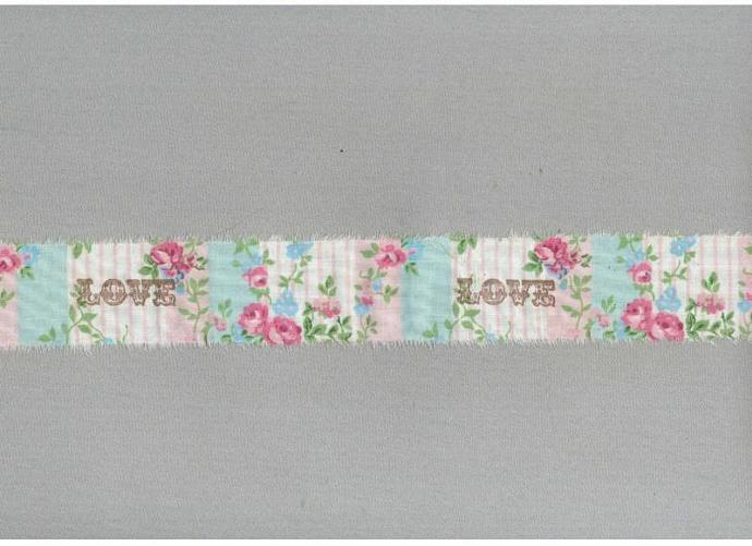 9 yards vintage  LOVE  turquoise pink SHABBY FRENCH chic hand made stamped c730
