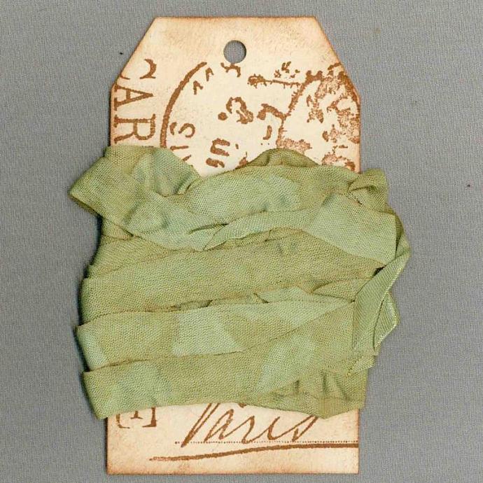seam binding 5 yards tea dyed green vintage Paris tag trim ribbon French chic